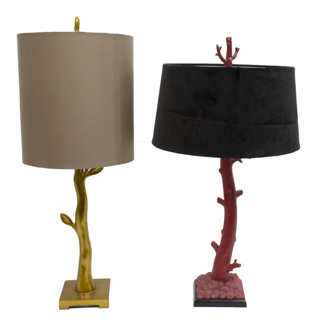 (2) CORAL & GILT BRANCH FORM CONTEMPORARY LAMPS