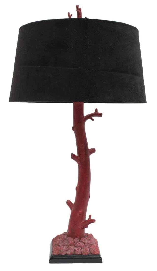 (2) CORAL & GILT BRANCH FORM CONTEMPORARY LAMPS - 3