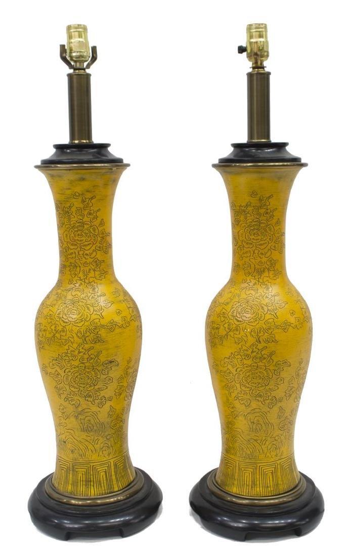 (2) PAUL HANSON CHINESE STYLE YELLOW CERAMIC LAMPS