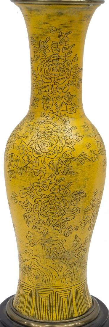 (2) PAUL HANSON CHINESE STYLE YELLOW CERAMIC LAMPS - 2