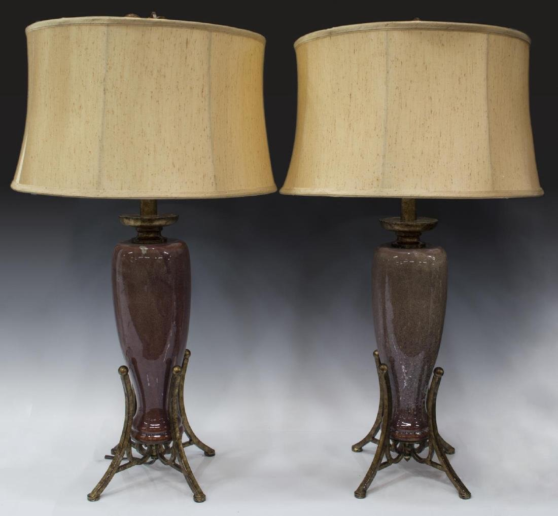 (2) GLAZED CERAMIC & SCROLLED METAL TABLE LAMPS