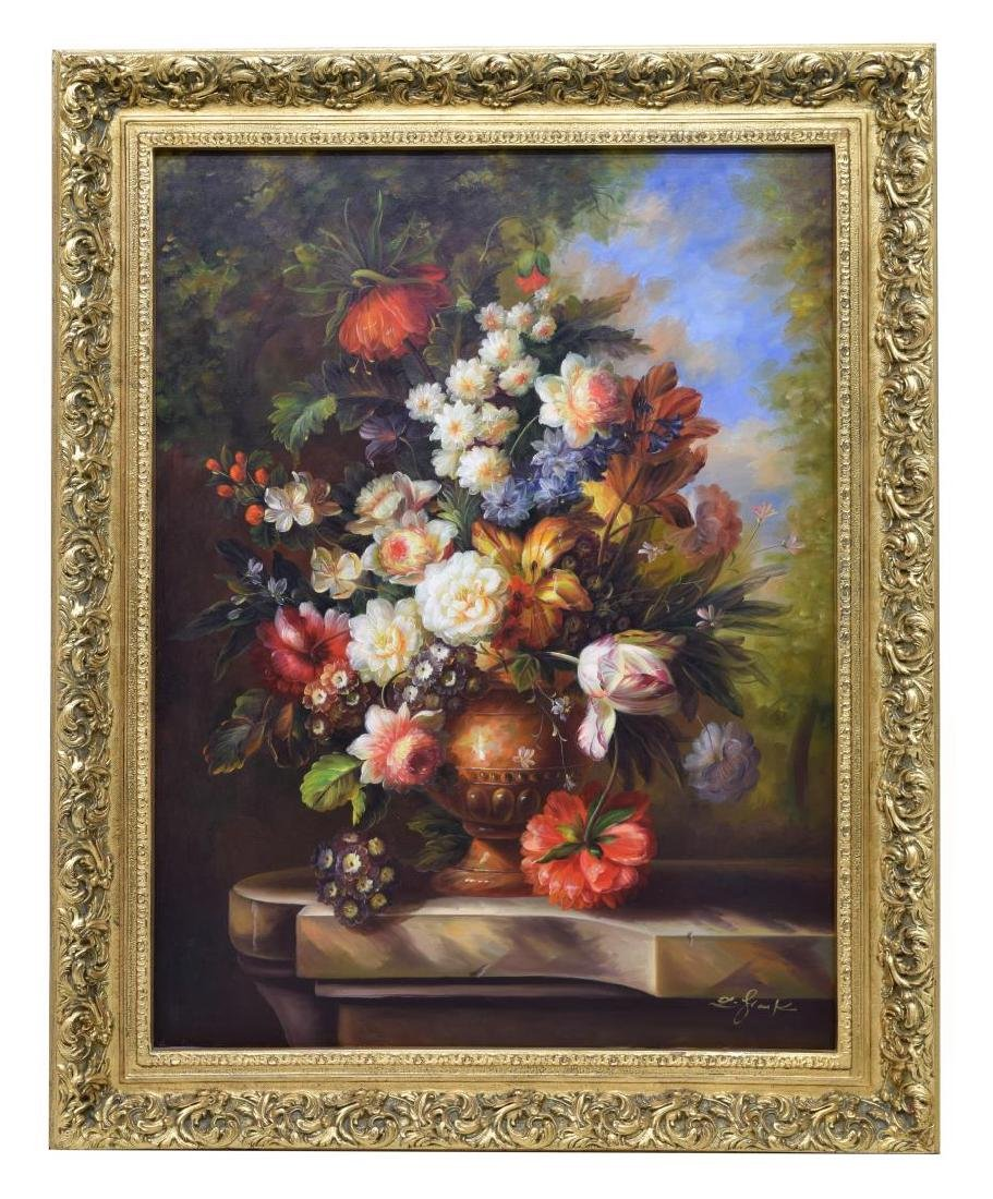 FRAMED DECORATIVE FLORAL STILL LIFE OIL PAINTING