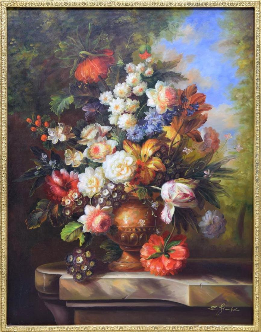 FRAMED DECORATIVE FLORAL STILL LIFE OIL PAINTING - 2