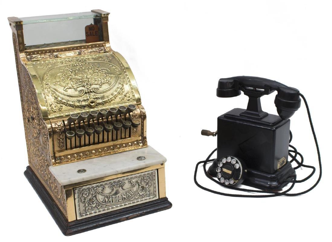 (2) NATIONAL CASH REGISTER 313 & CRANK TELEPHONE