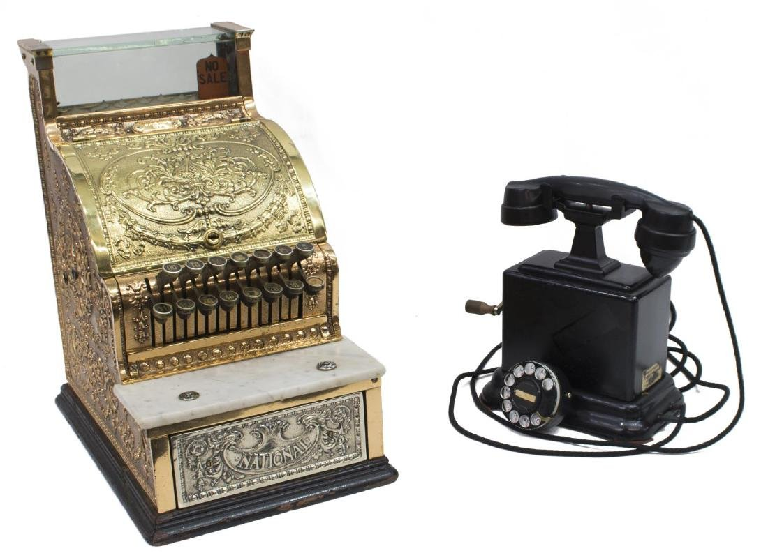 (2) NATIONAL CASH REGISTER 313 & CRANK TELEPHONE
