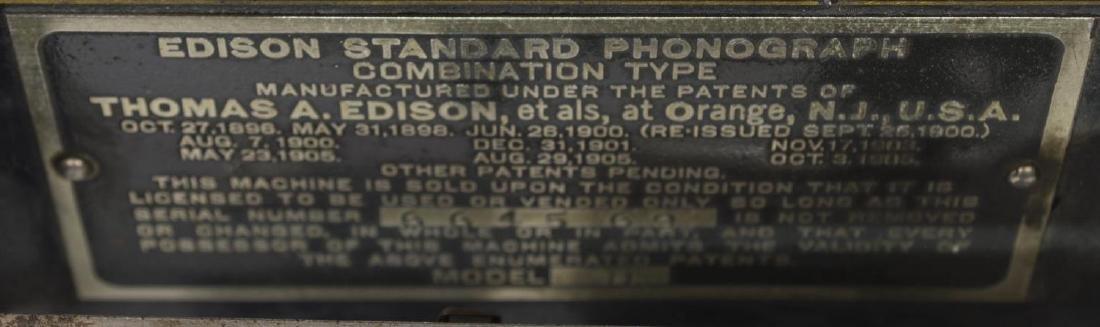 EDISON STANDARD OAK CASE PHONOGRAPH & HORN - 5