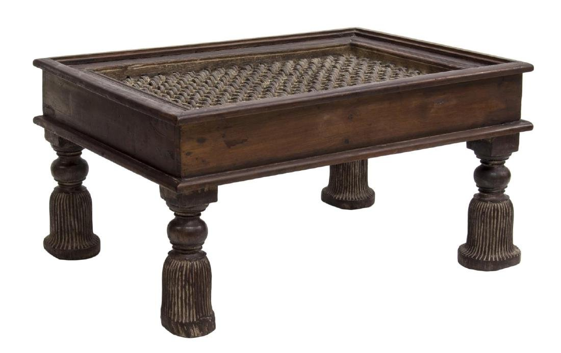 DUTCH COLONIAL TEAK & IRON LATTICE COFFEE TABLE