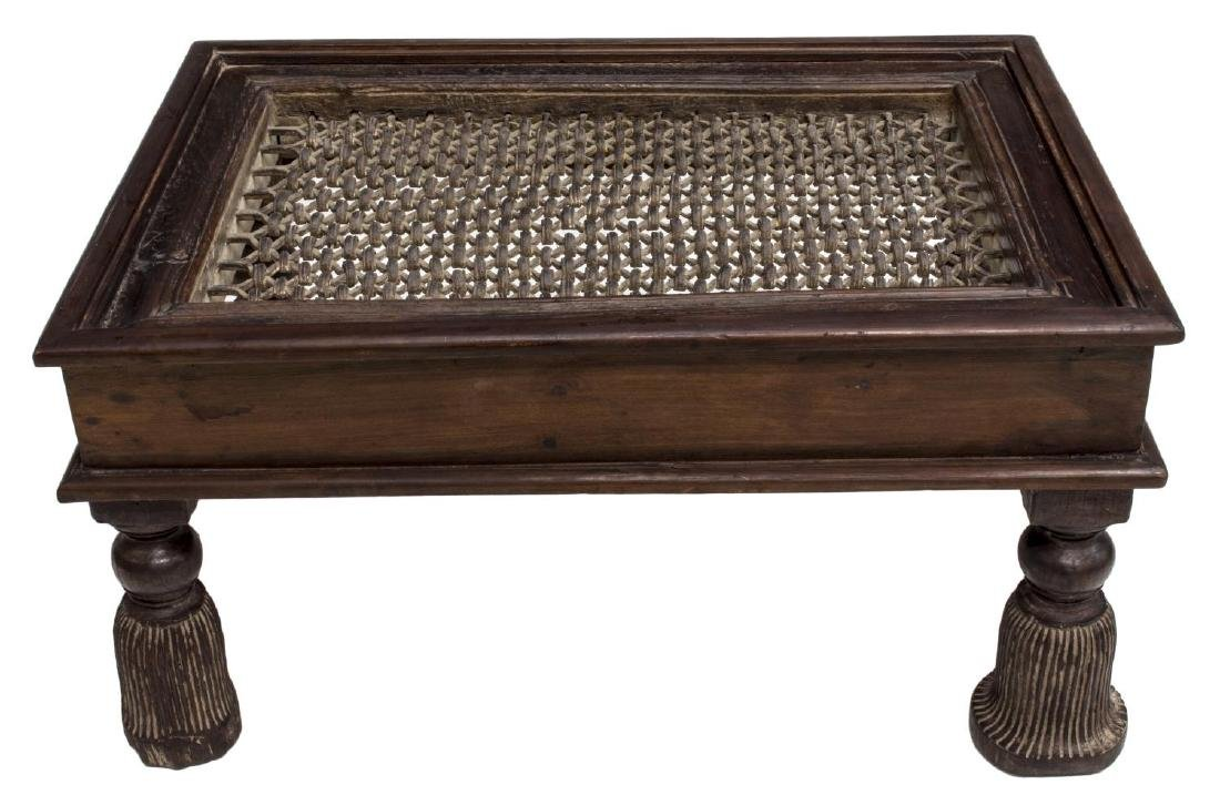 DUTCH COLONIAL TEAK & IRON LATTICE COFFEE TABLE - 2