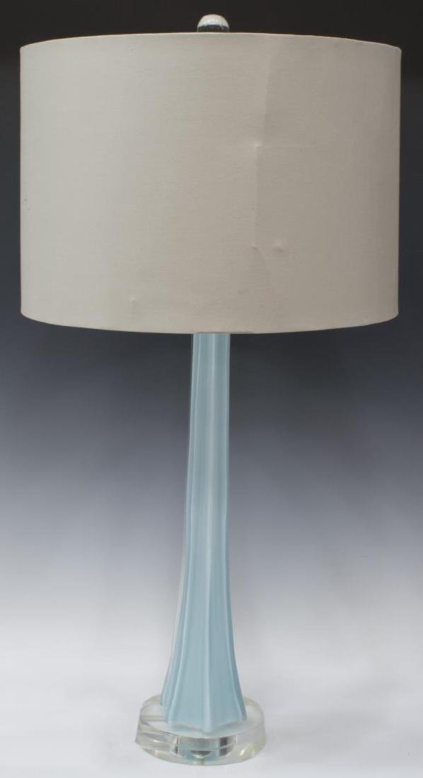 MODERN BLUE OPALESCENT ART GLASS TABLE LAMP