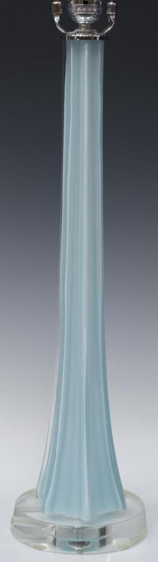 MODERN BLUE OPALESCENT ART GLASS TABLE LAMP - 2