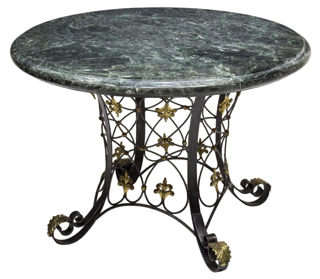 MARBLE, GILT BRASS & WROUGHT IRON TABLE