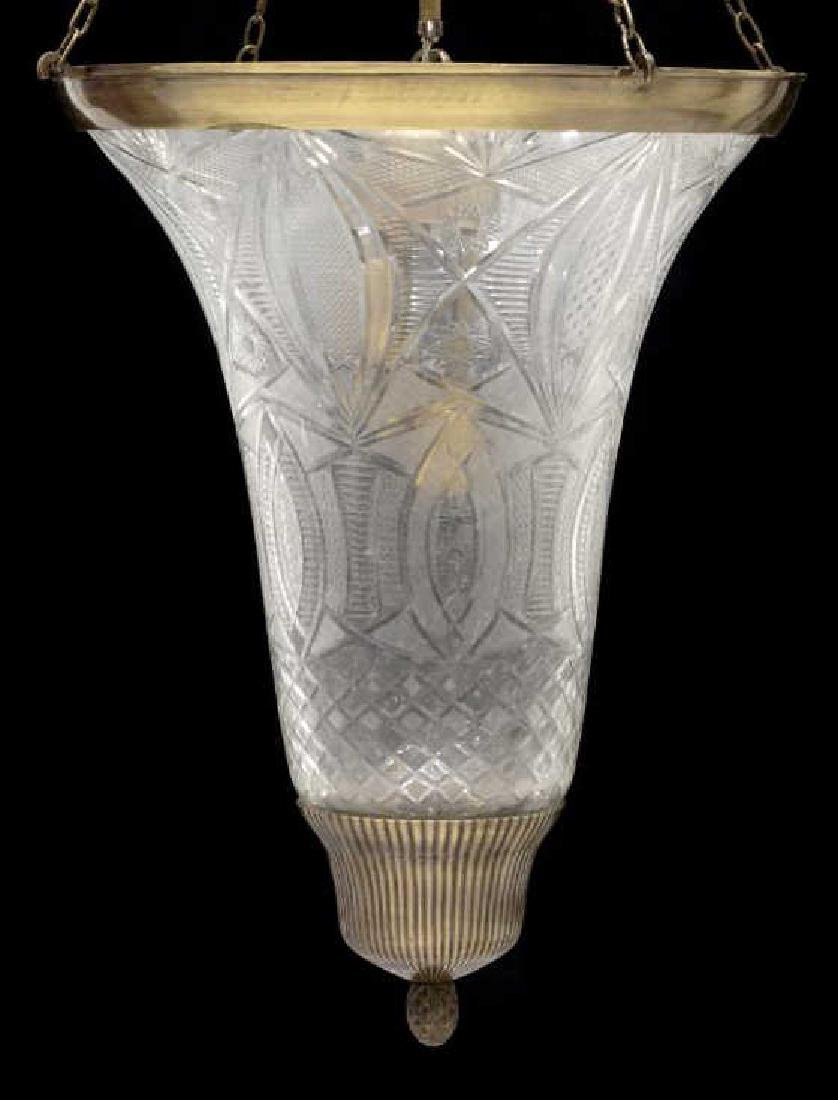 ITALIAN CUT GLASS CONICAL THREE-LIGHT CHANDELIER