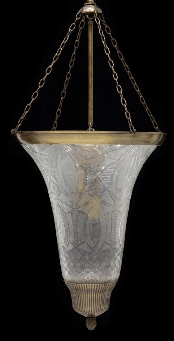 ITALIAN CUT GLASS CONICAL THREE-LIGHT CHANDELIER - 2