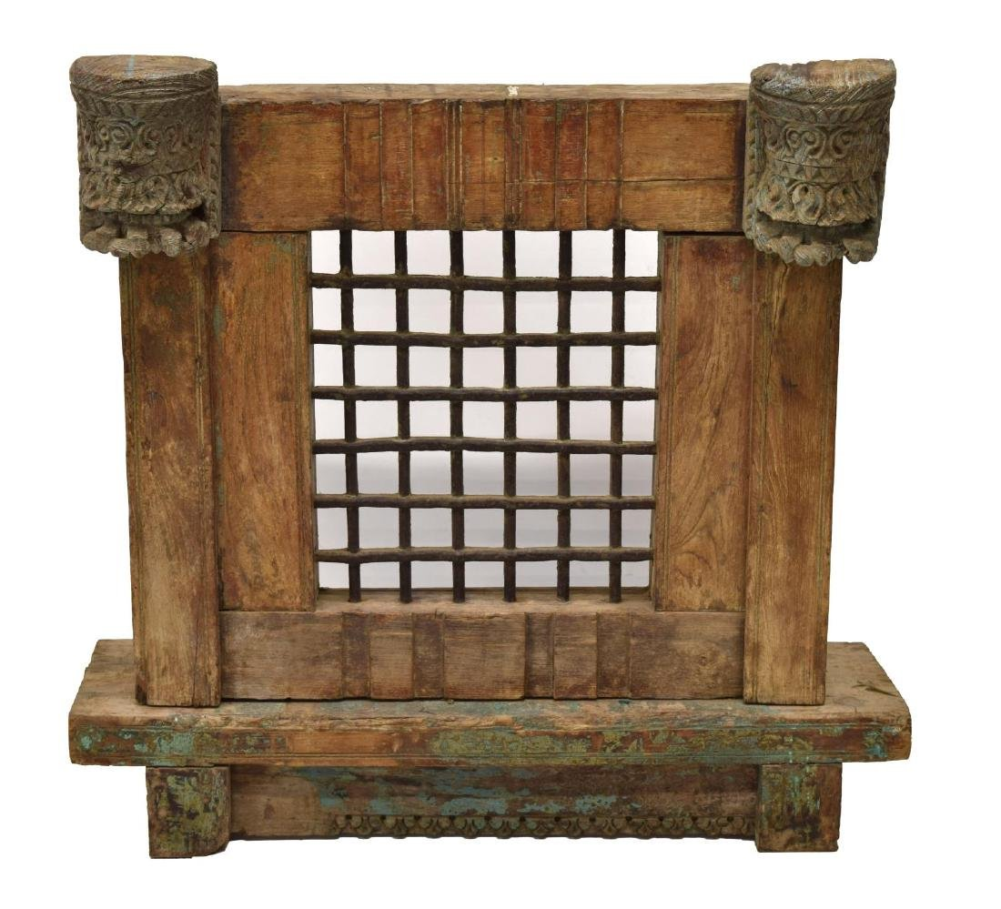 BRITISH COLONIAL CARVED TEAKWOOD & IRON WINDOW