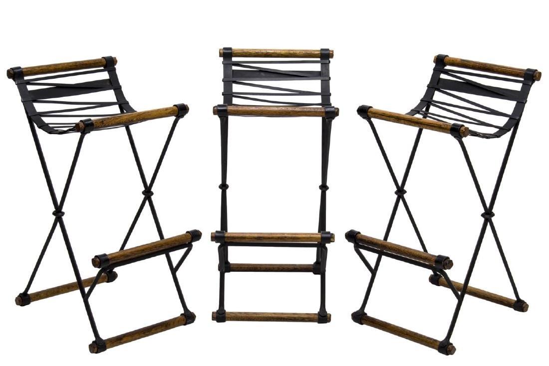 (3) OAK & BLACK STEEL BAR STOOLS