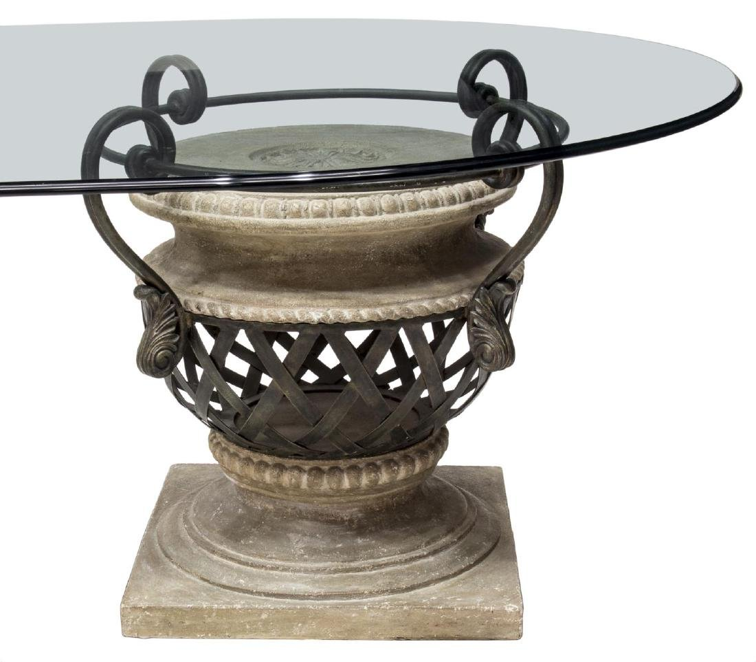 LARGE OVAL GLASS TOP URN PEDESTAL DINING TABLE - 4