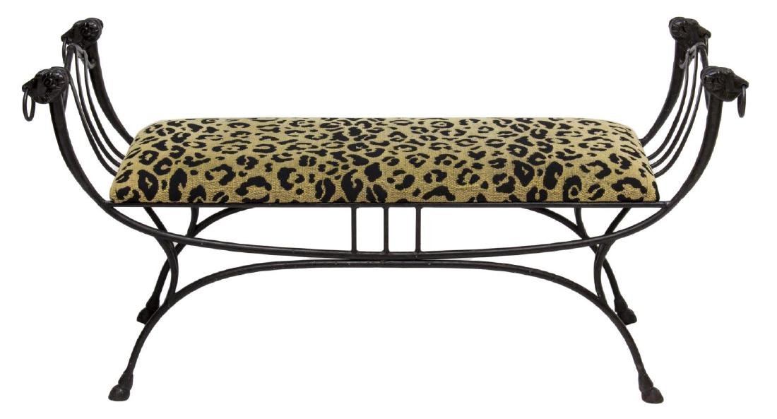 RAMS HEAD WROUGHT IRON FRAME CUSHIONED BENCH - 2
