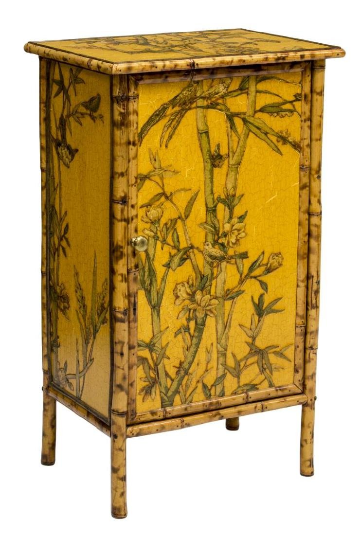 CHINESE BAMBOO FLORAL & BIRDS DECORATED CABINET