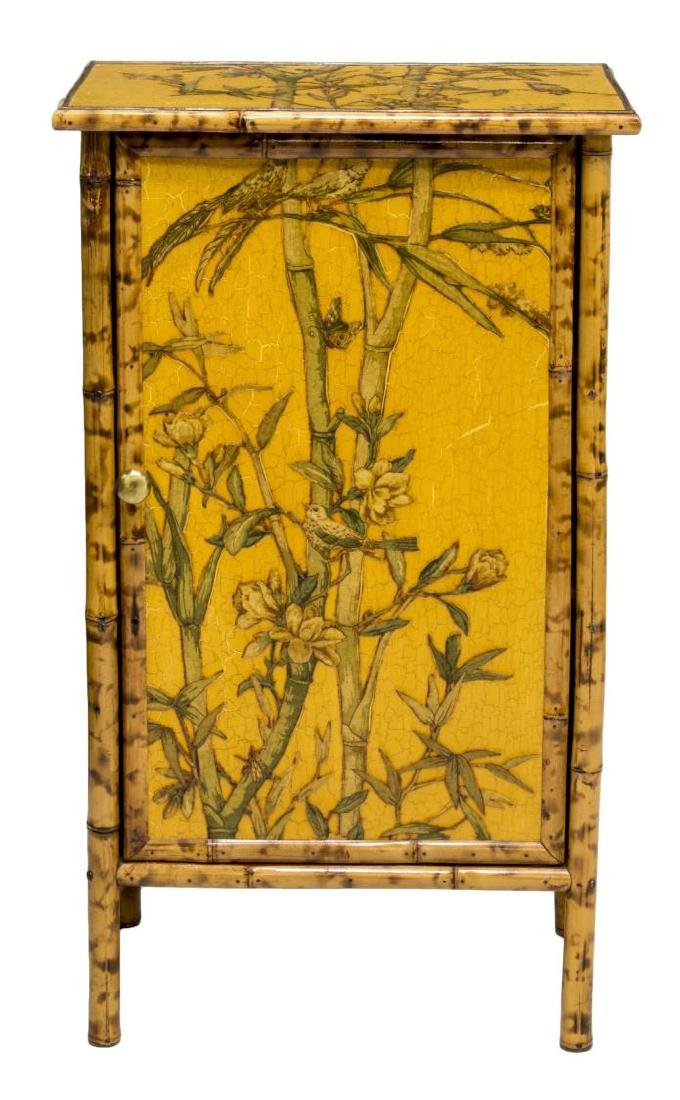 CHINESE BAMBOO FLORAL & BIRDS DECORATED CABINET - 2