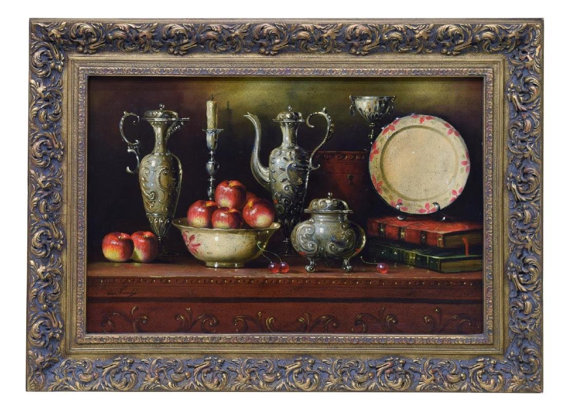 FRAMED OIL PAINTING, STILL LIFE WITH COFFEE EWERS