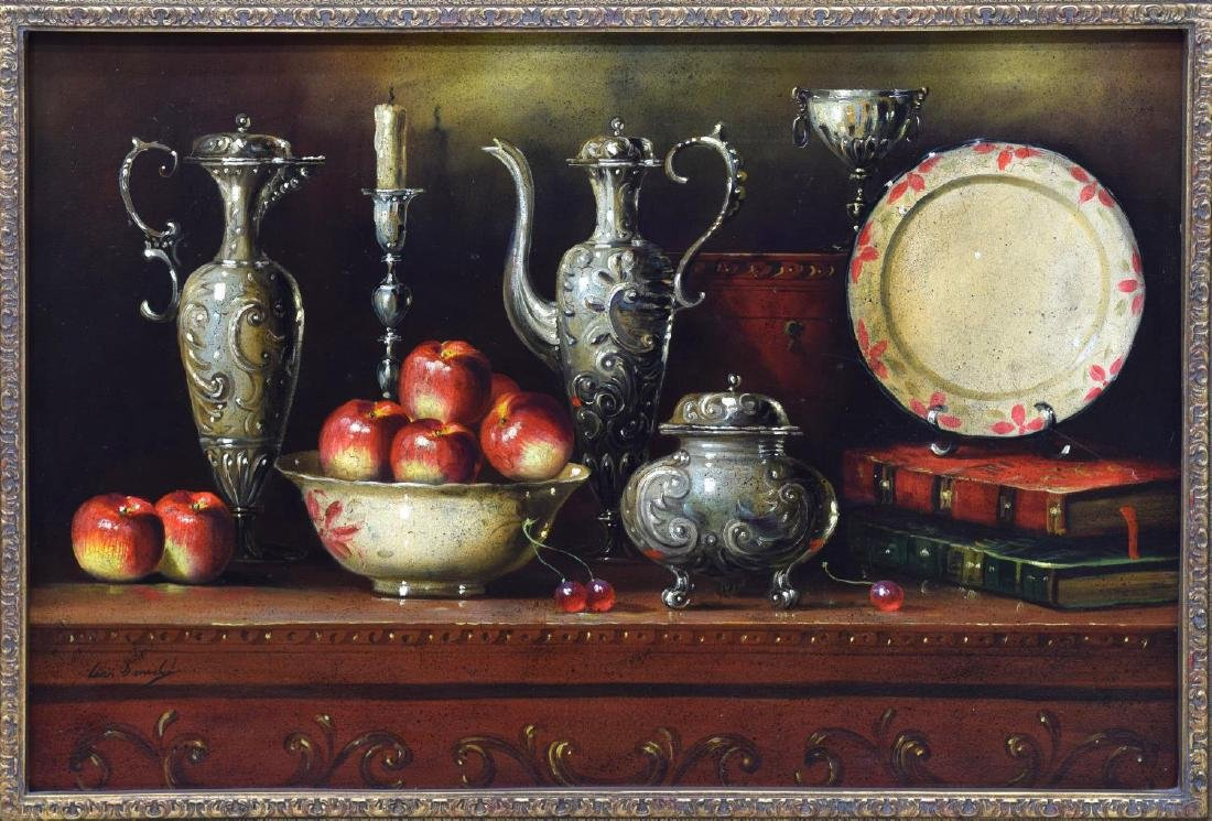 FRAMED OIL PAINTING, STILL LIFE WITH COFFEE EWERS - 2