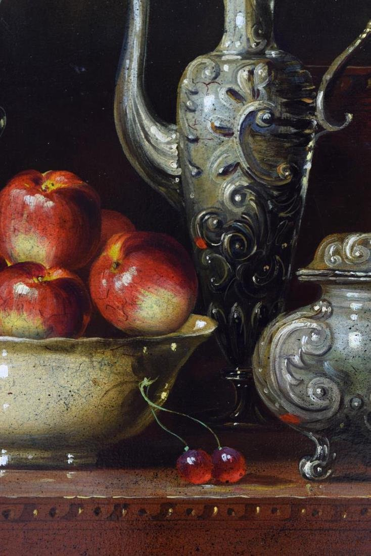 FRAMED OIL PAINTING, STILL LIFE WITH COFFEE EWERS - 3