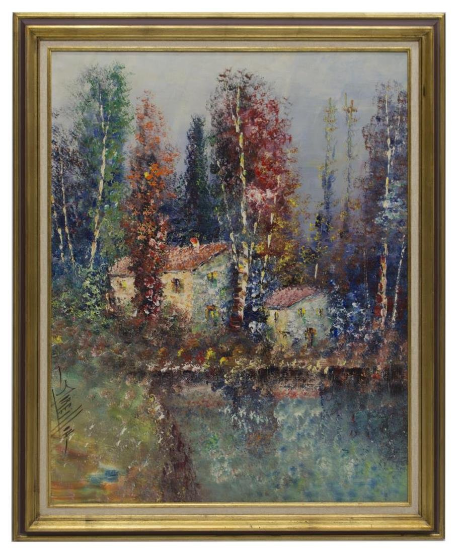 FRENCH PAINTING ON CANVAS, GARDEN HOUSES, SIGNED - 2