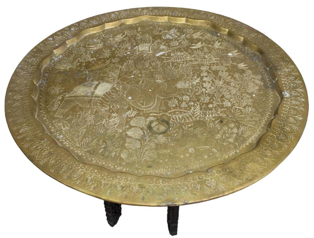 INCISED FIGURAL GILT METAL &WOOD TRAY TABLE, INDIA - 2
