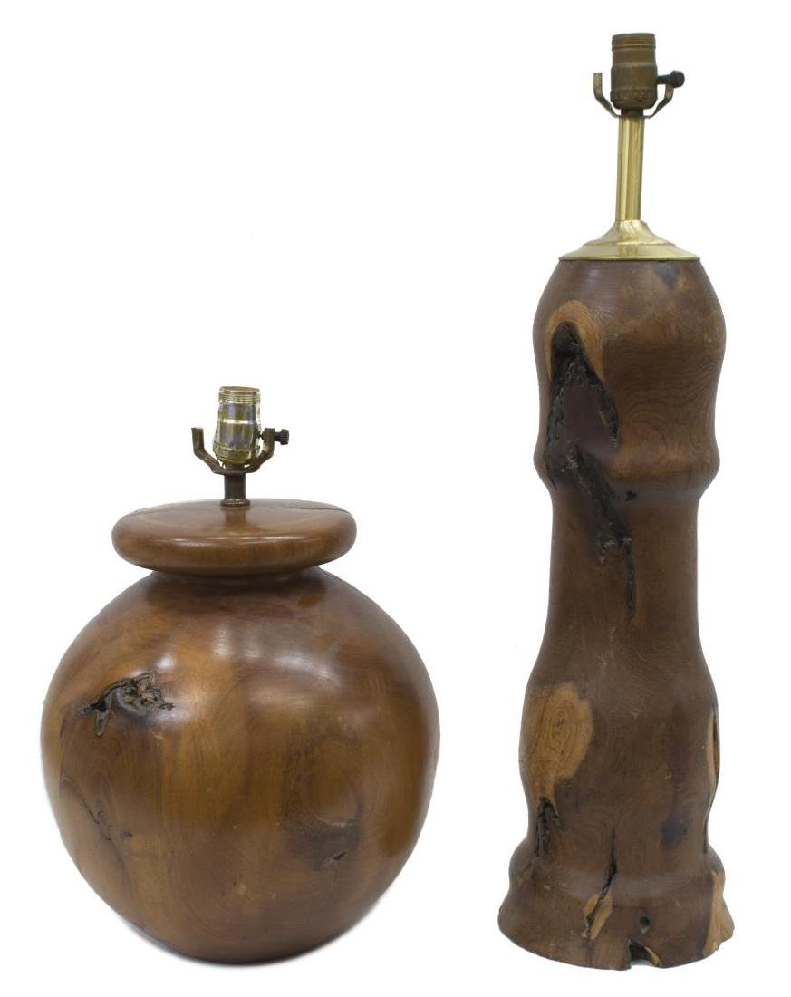 (2) CONTEMPORARY SOLID WOOD TABLE LAMPS