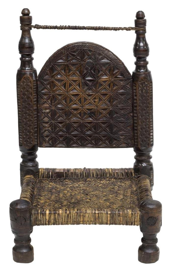 INDIAN CARVED LOW CHAIR WITH WOVEN SEAT - 2