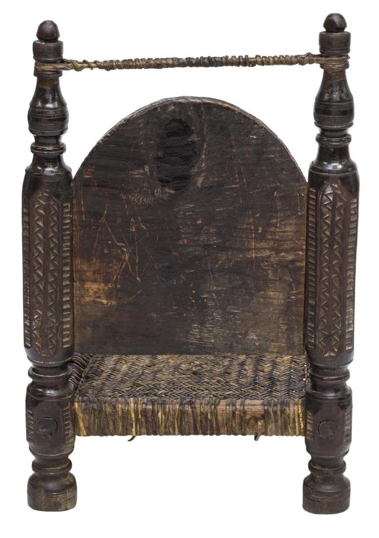 INDIAN CARVED LOW CHAIR WITH WOVEN SEAT - 3