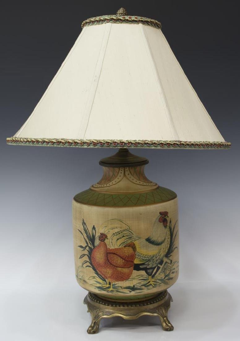 PAINTED CERAMIC CHICKEN & ROOSTER TABLE LAMP
