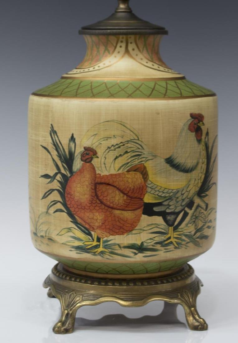 PAINTED CERAMIC CHICKEN & ROOSTER TABLE LAMP - 2