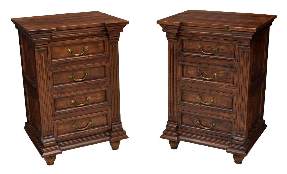 (2) BRITISH COLONIAL STYLE CARVED TEAK NIGHTSTANDS