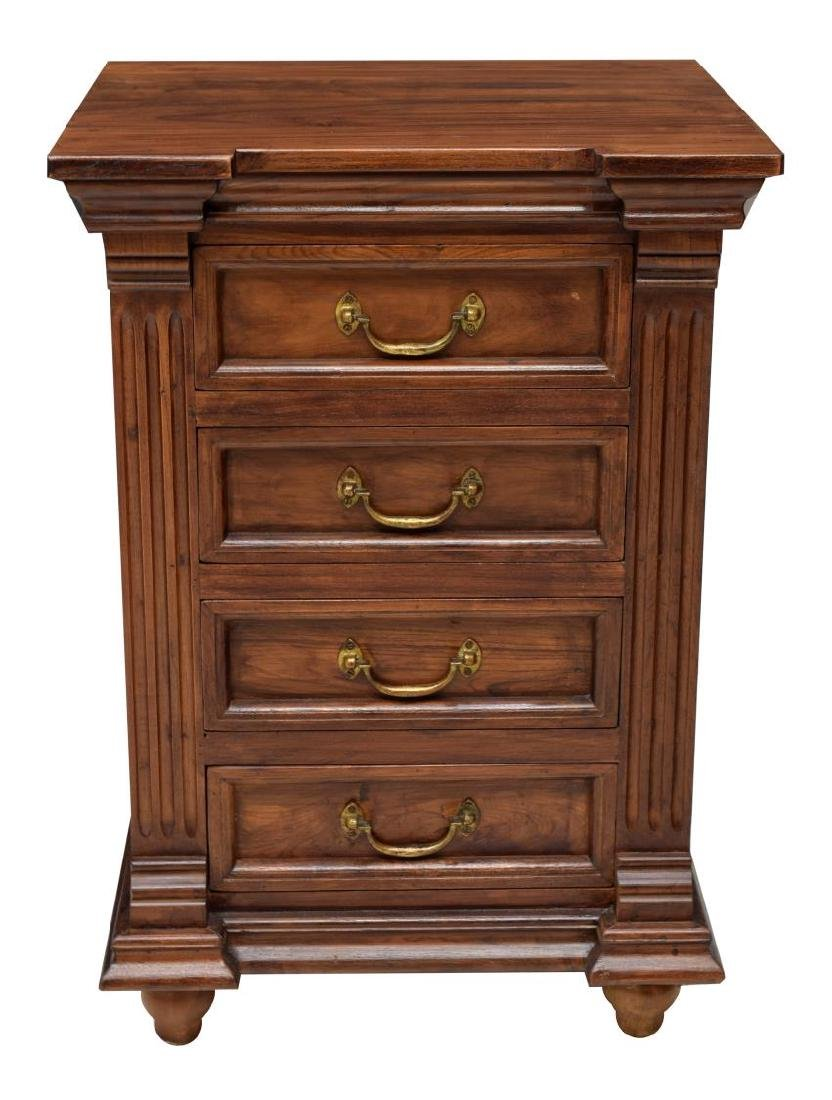 (2) BRITISH COLONIAL STYLE CARVED TEAK NIGHTSTANDS - 2