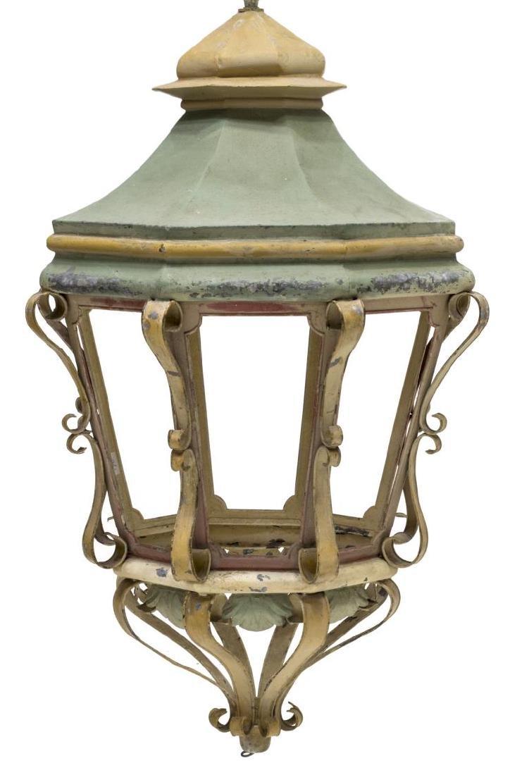 LARGE ITALIAN PAINTED METAL HANGING LANTERN LAMP