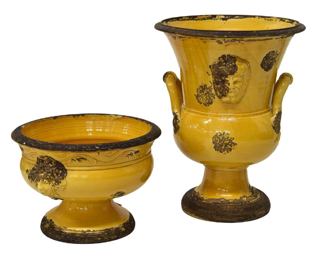 (2) ITALIAN YELLOW GLAZED FIGURAL CERAMIC VESSELS