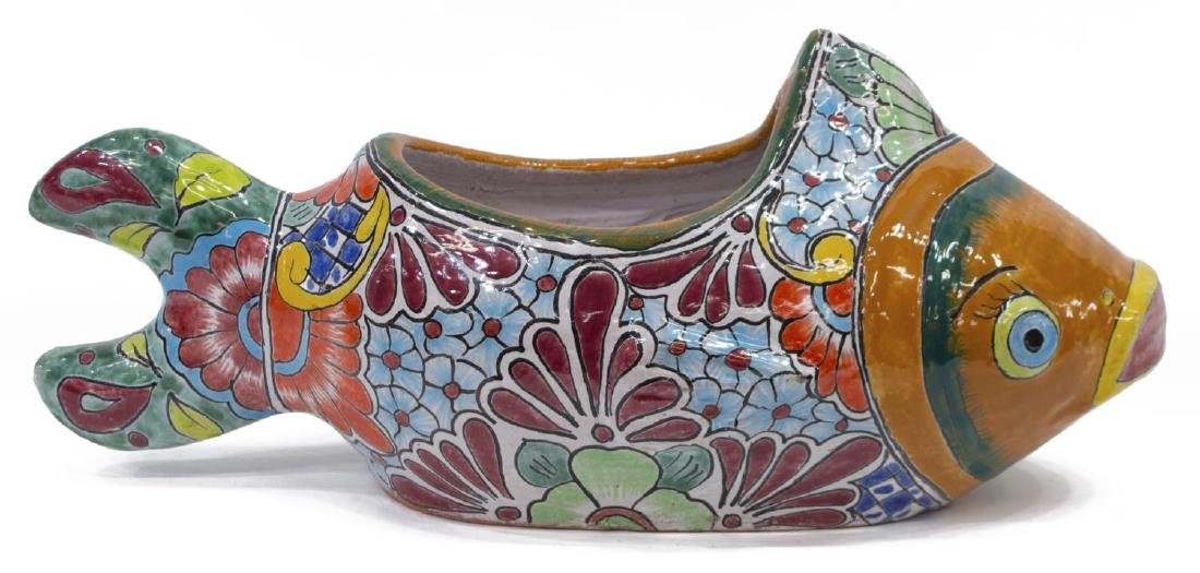 (2) MEXICAN TALAVERA ANIMALS FISH PLAQUE & PLANTER - 5