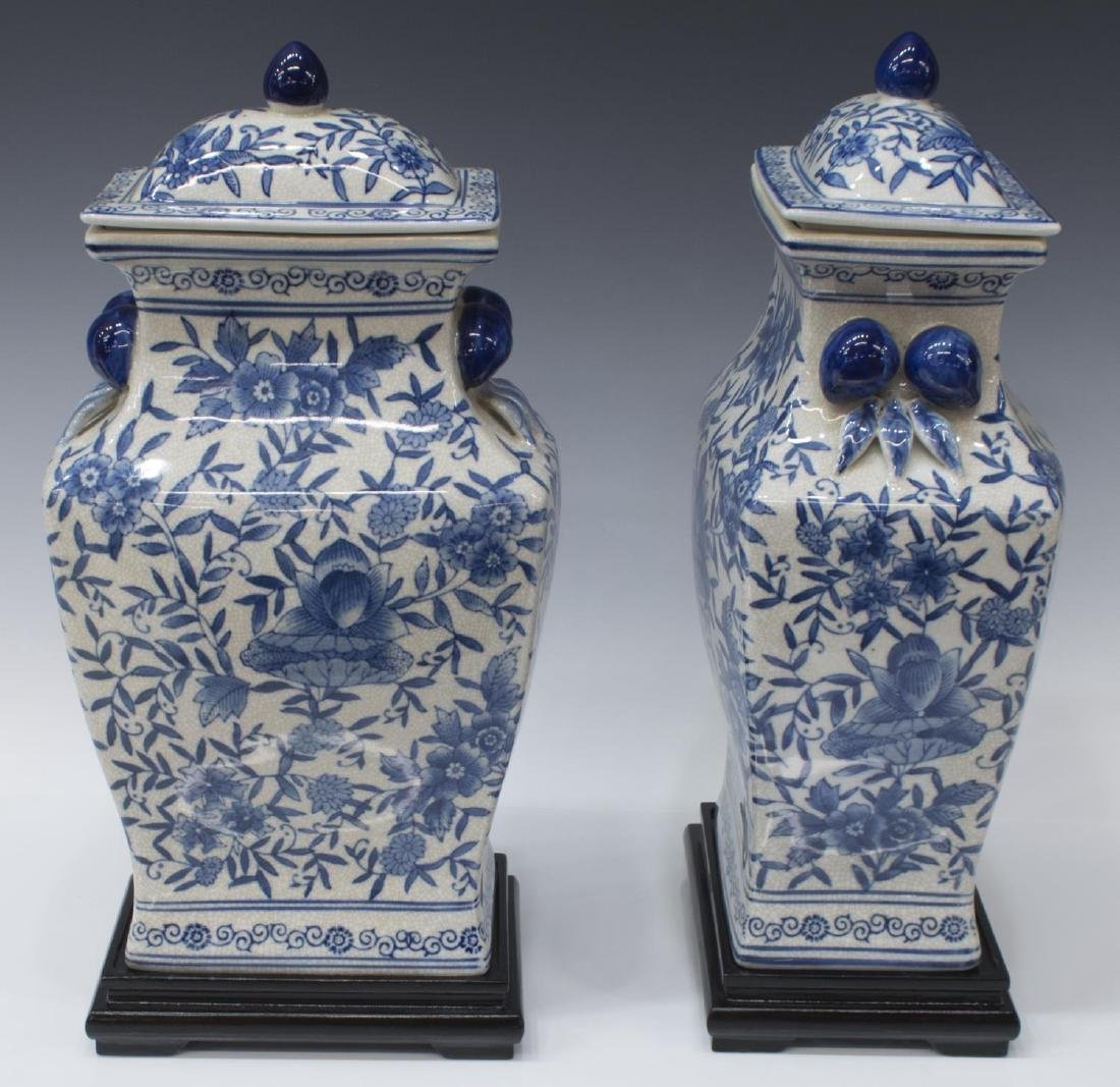(2) DECORATIVE CHINESE BLUE & WHITE LIDDED JARS - 2