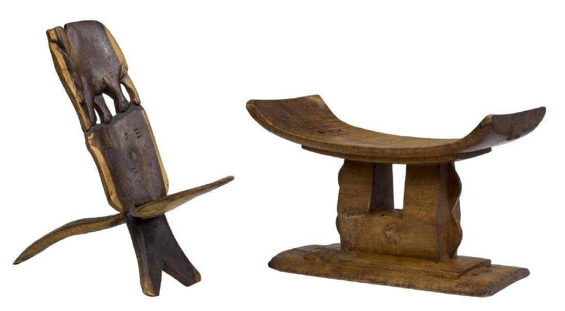 (2) AFRICAN CHAIR AND HEADREST