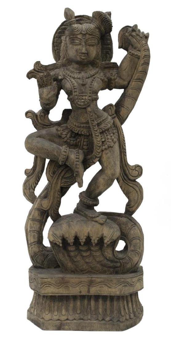 (2) INDIAN CARVED WOOD HINDU DEITY STATUES - 2