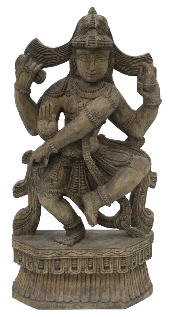 (2) INDIAN CARVED WOOD HINDU DEITY STATUES - 4
