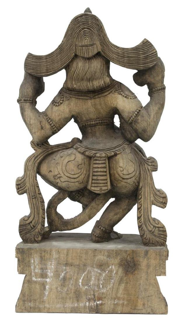 (2) INDIAN CARVED WOOD HINDU DEITY STATUES - 5