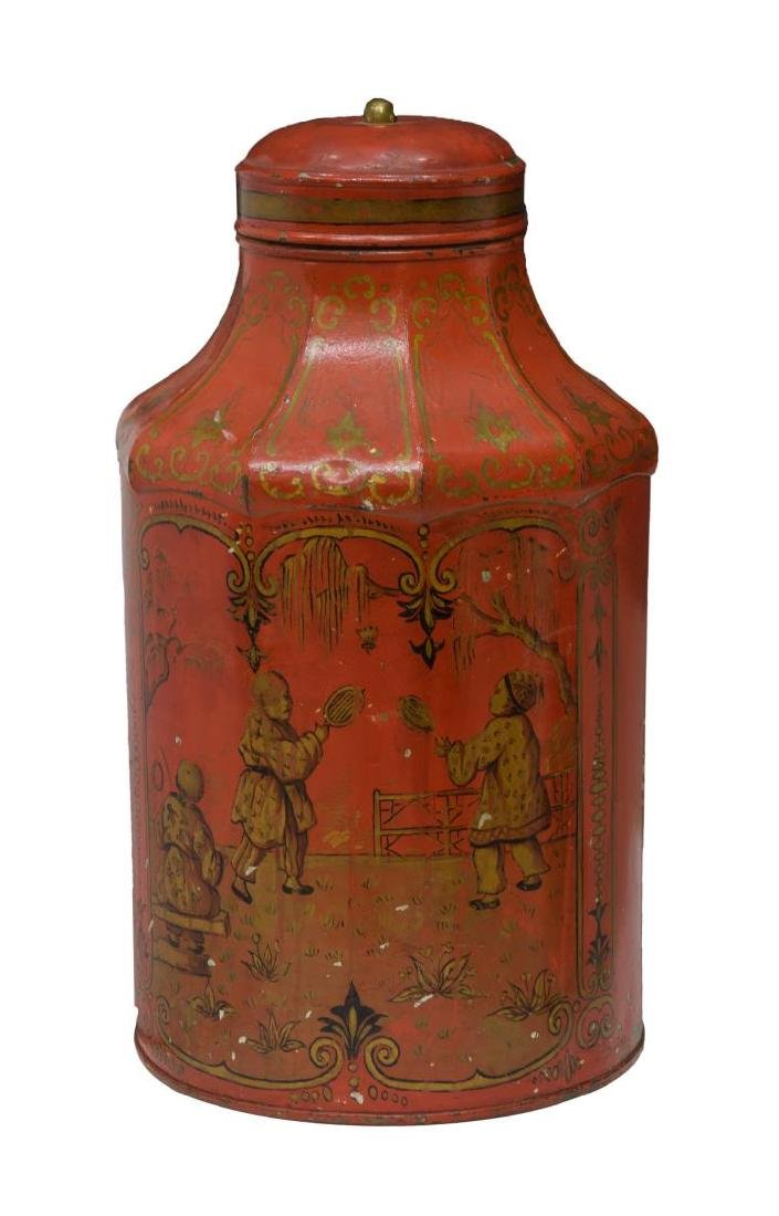CHINOISERIE PAINTED & GILT METAL TEA CANISTER