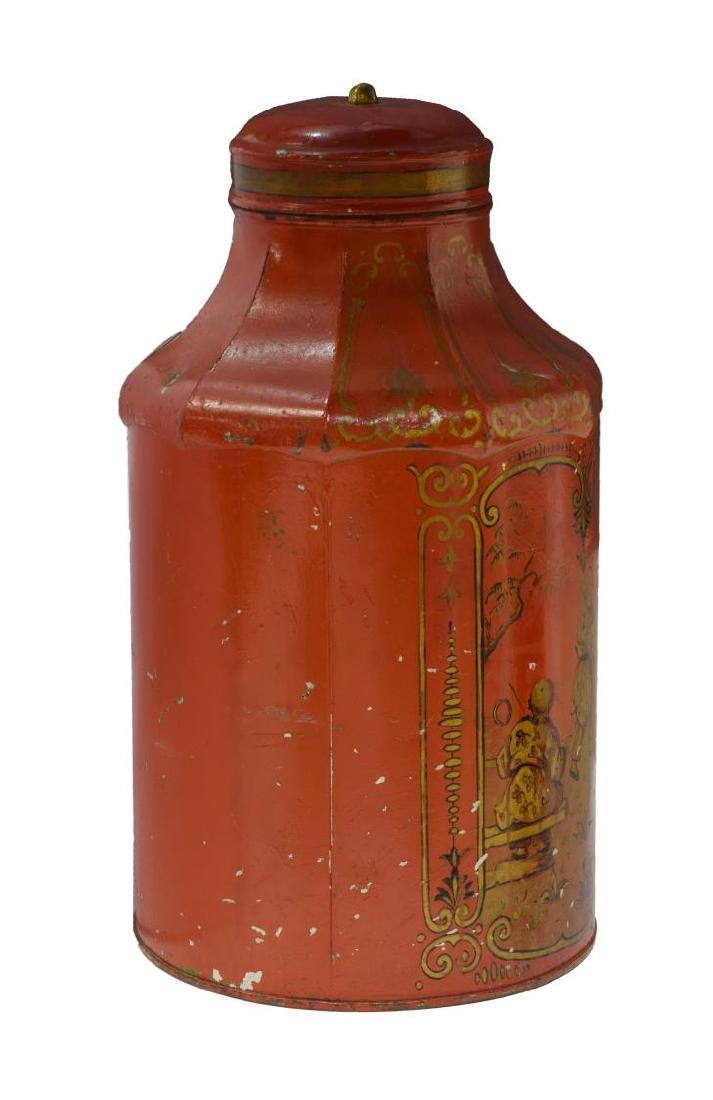 CHINOISERIE PAINTED & GILT METAL TEA CANISTER - 2