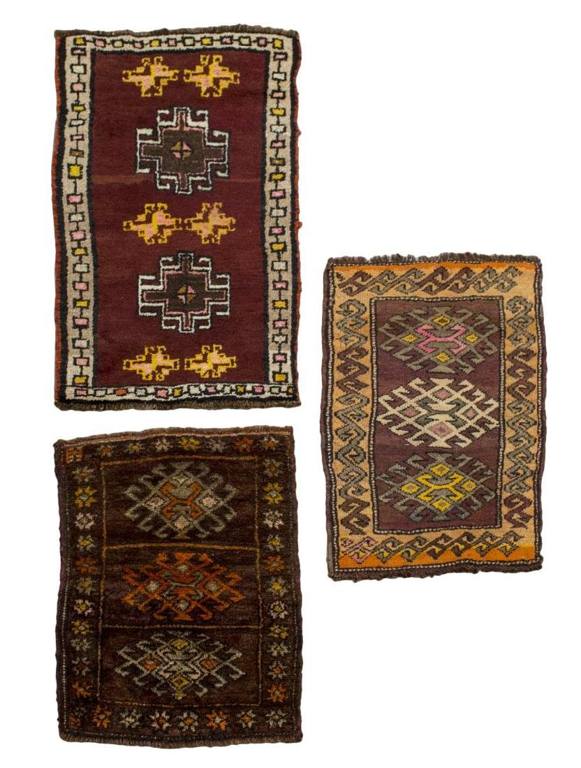 (3) SMALL HAND TIED WOOL RUGS