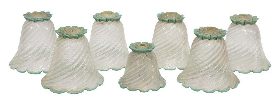 (7) VENETIAN ART GLASS LAMP SHADES
