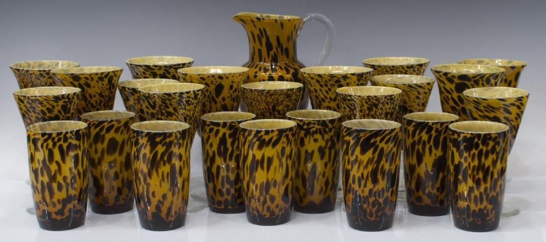 (25) AMICI BLOWN GLASS LEOPARD GOBLETS & PITCHER