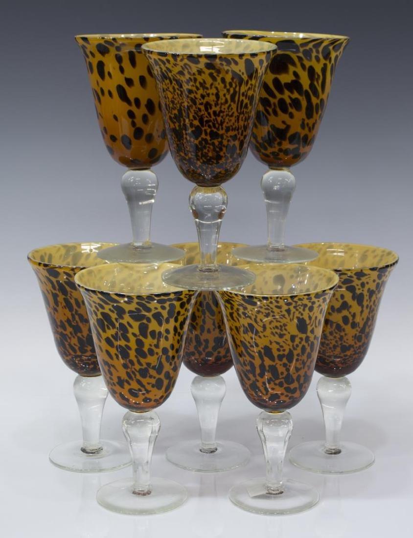 (25) AMICI BLOWN GLASS LEOPARD GOBLETS & PITCHER - 2