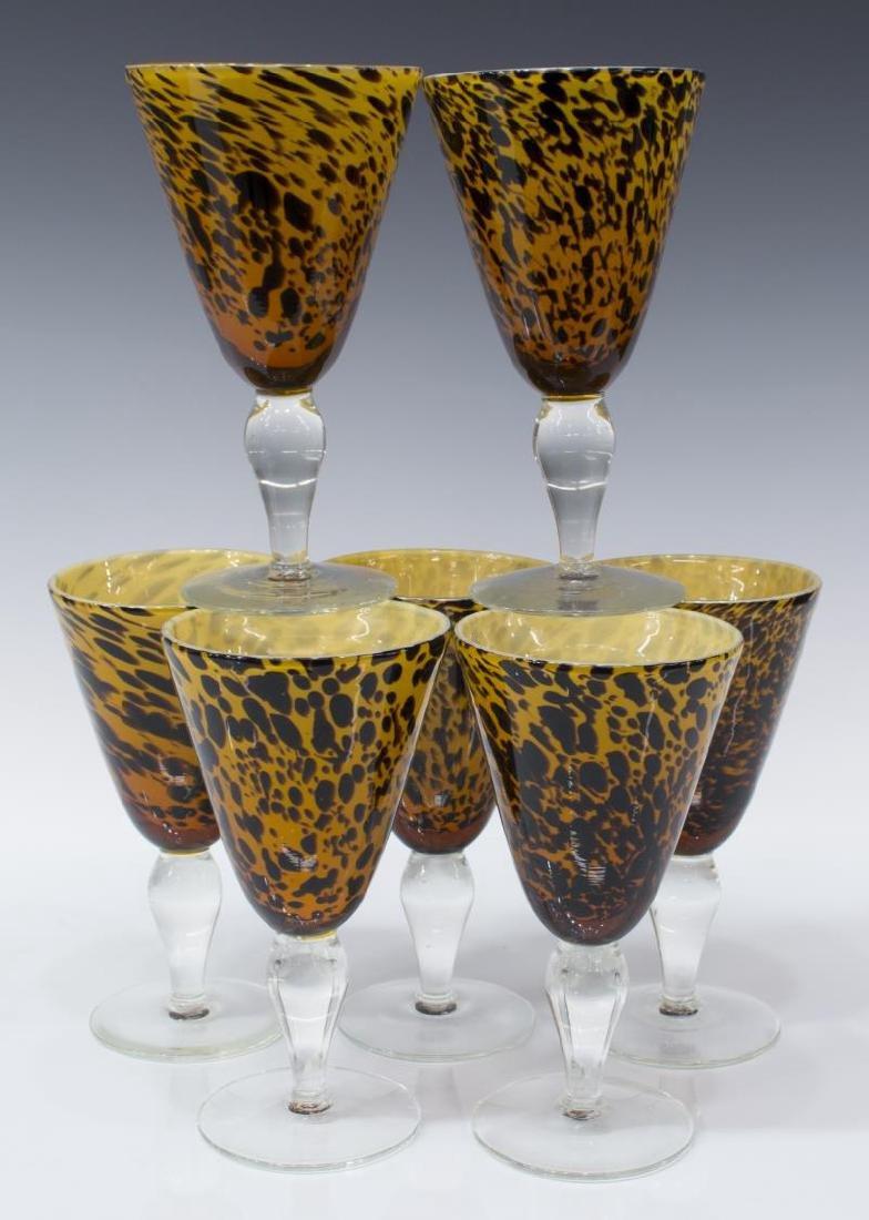 (25) AMICI BLOWN GLASS LEOPARD GOBLETS & PITCHER - 5